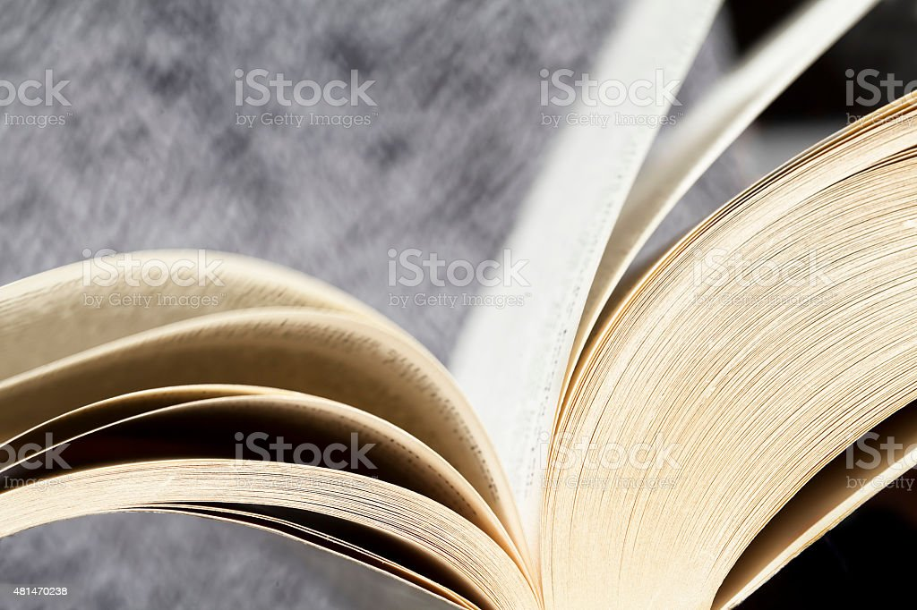 Close up of open book stock photo