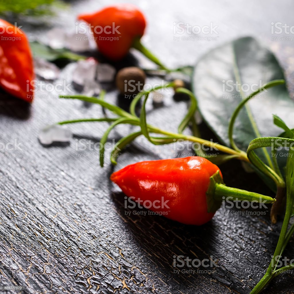 close up of orange hot chili peppers, sea salt, greenery stock photo