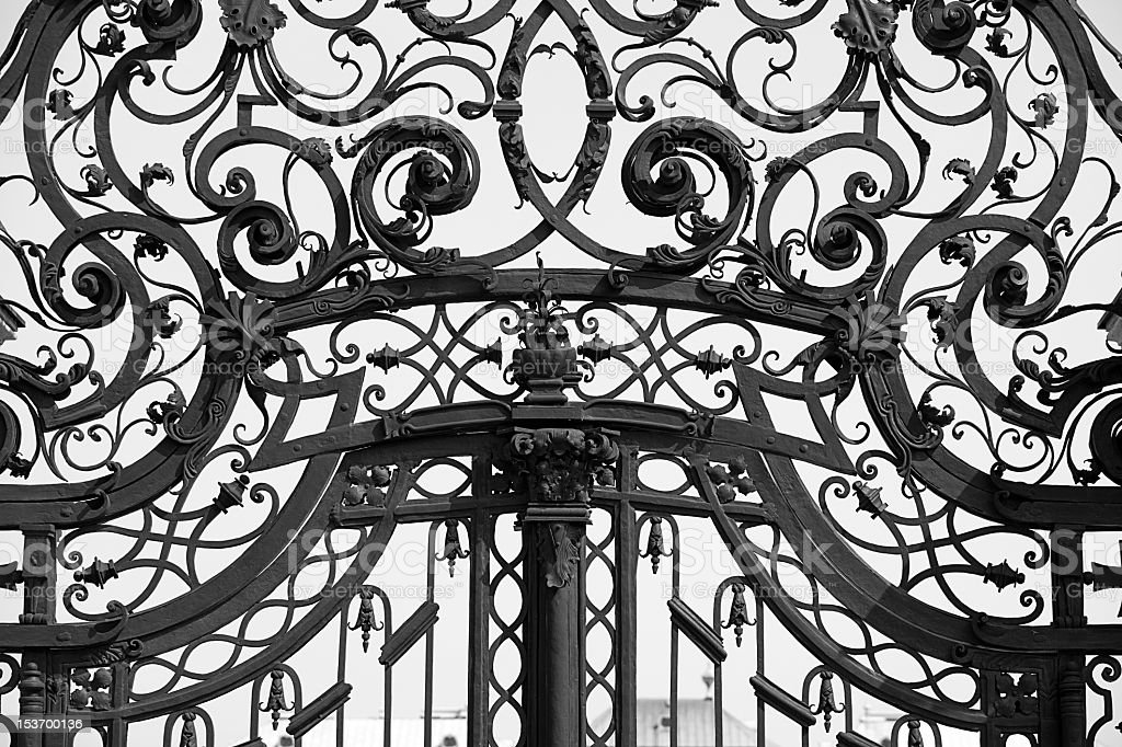 Close up of ornaments on old iron gate stock photo