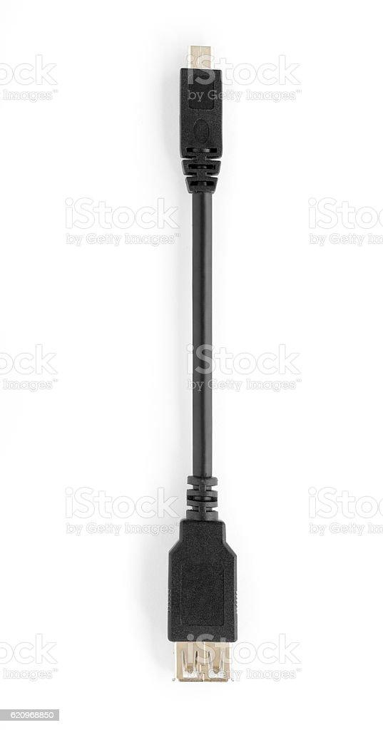 Close up of OTG / USB adapter on white background stock photo