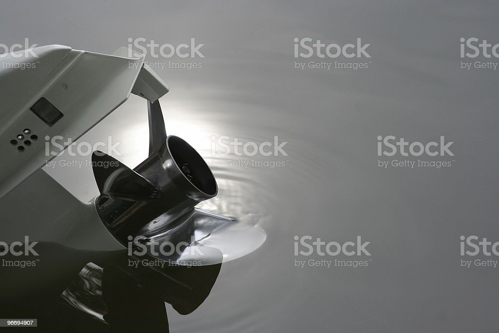 Close up of outboard boat motor and propeller royalty-free stock photo