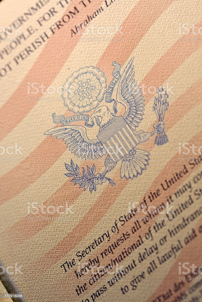 Close up of page in American passport. stock photo