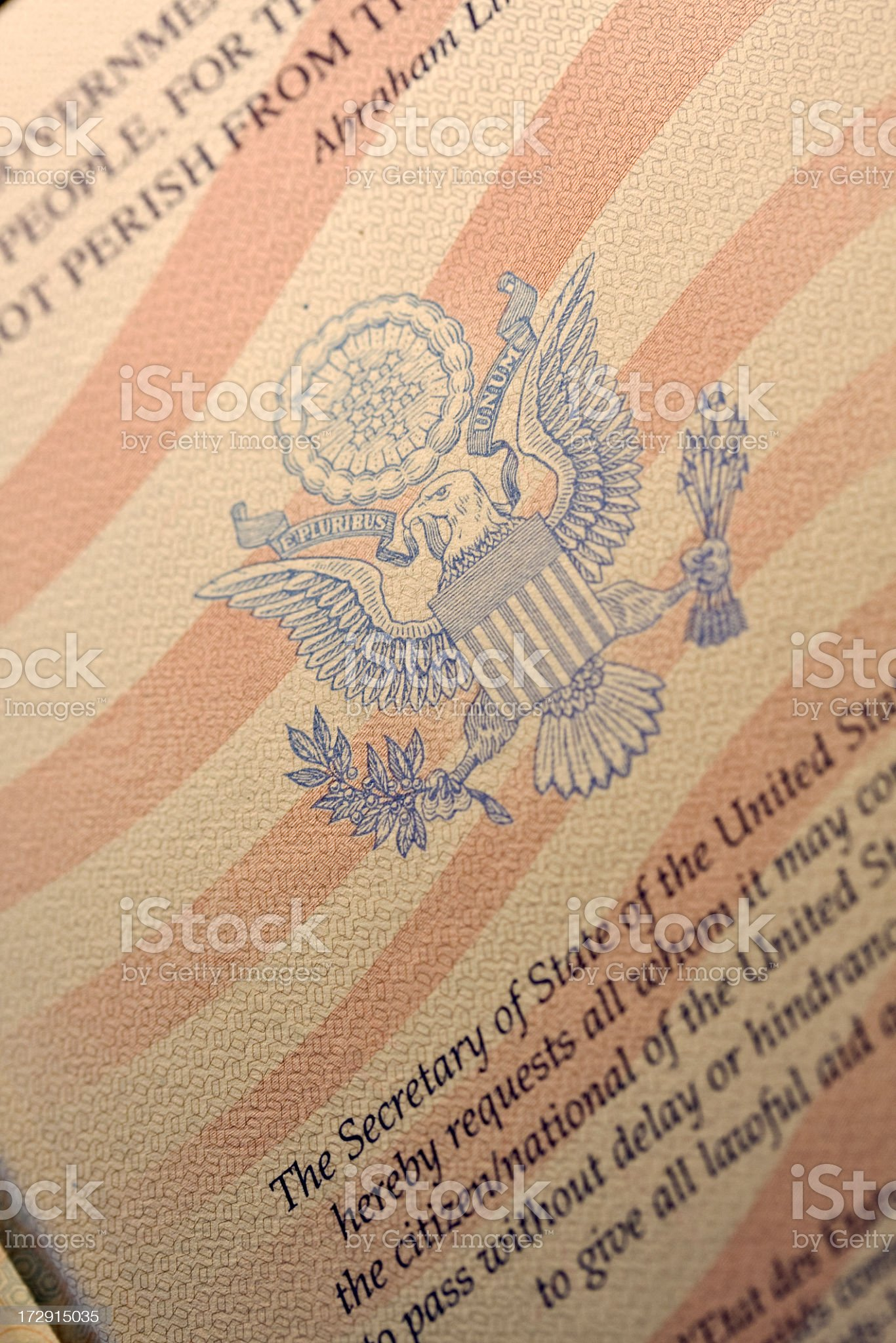 Close up of page in American passport. royalty-free stock photo