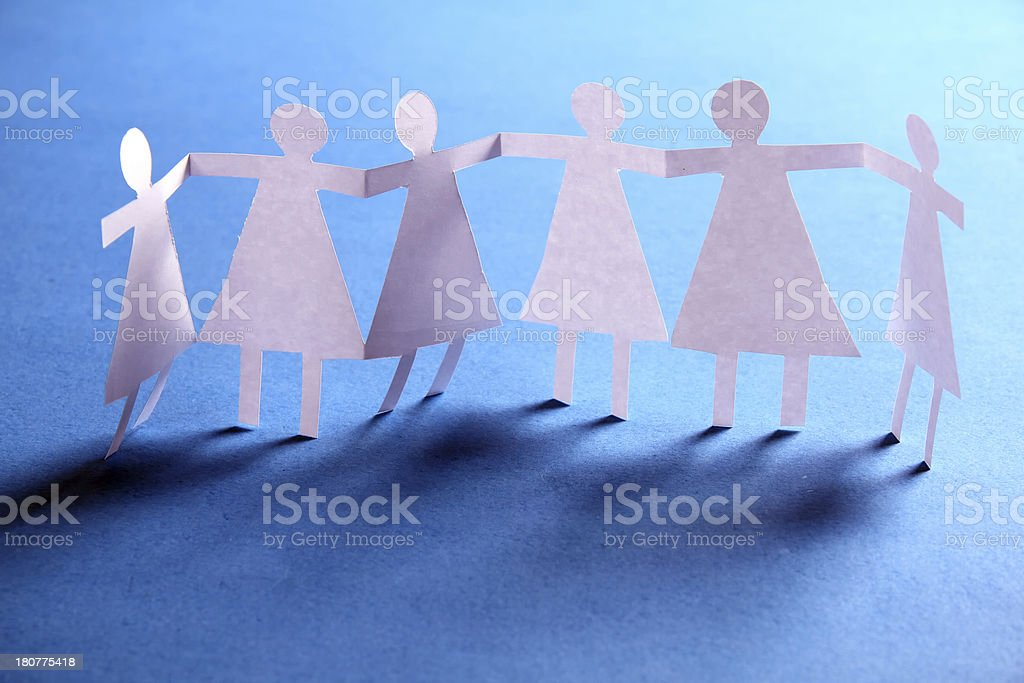 close up of paper people on white background royalty-free stock photo