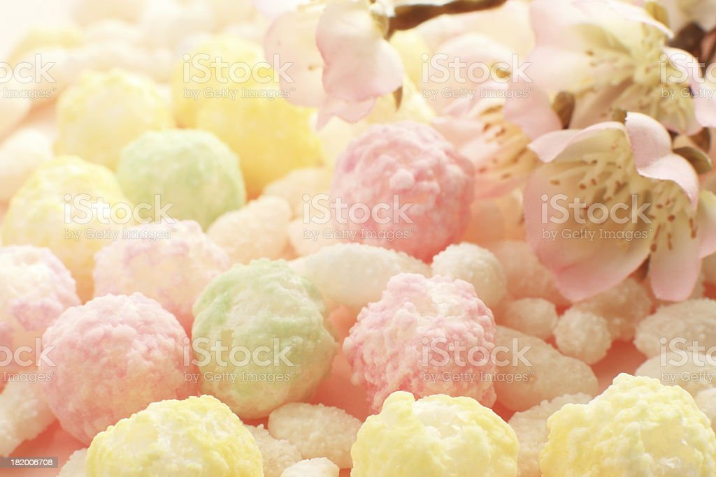 close up of pastel color japanese confection stock photo
