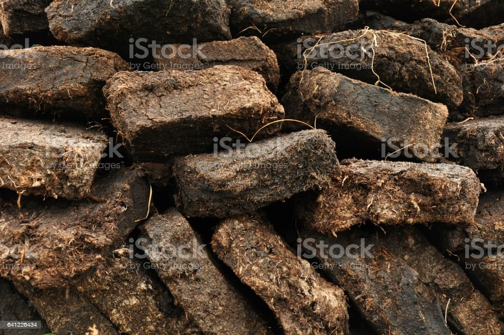 close up of peat digging on Harris, Scotland stock photo