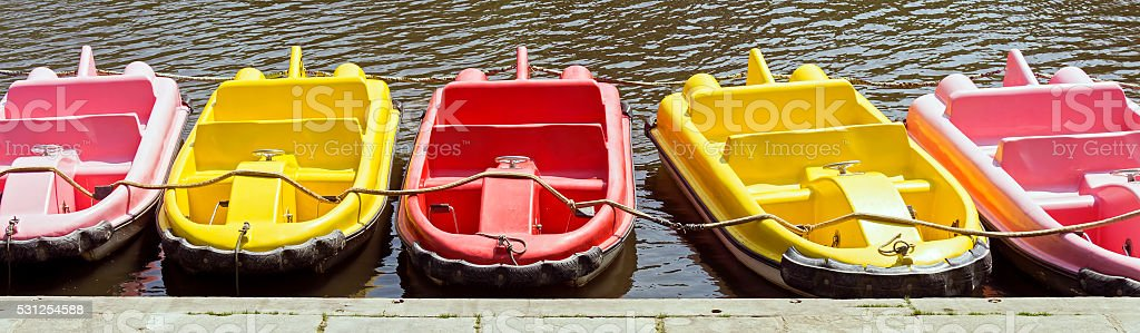 Close Up of Peddle Boats in Chester, Cheshire. stock photo