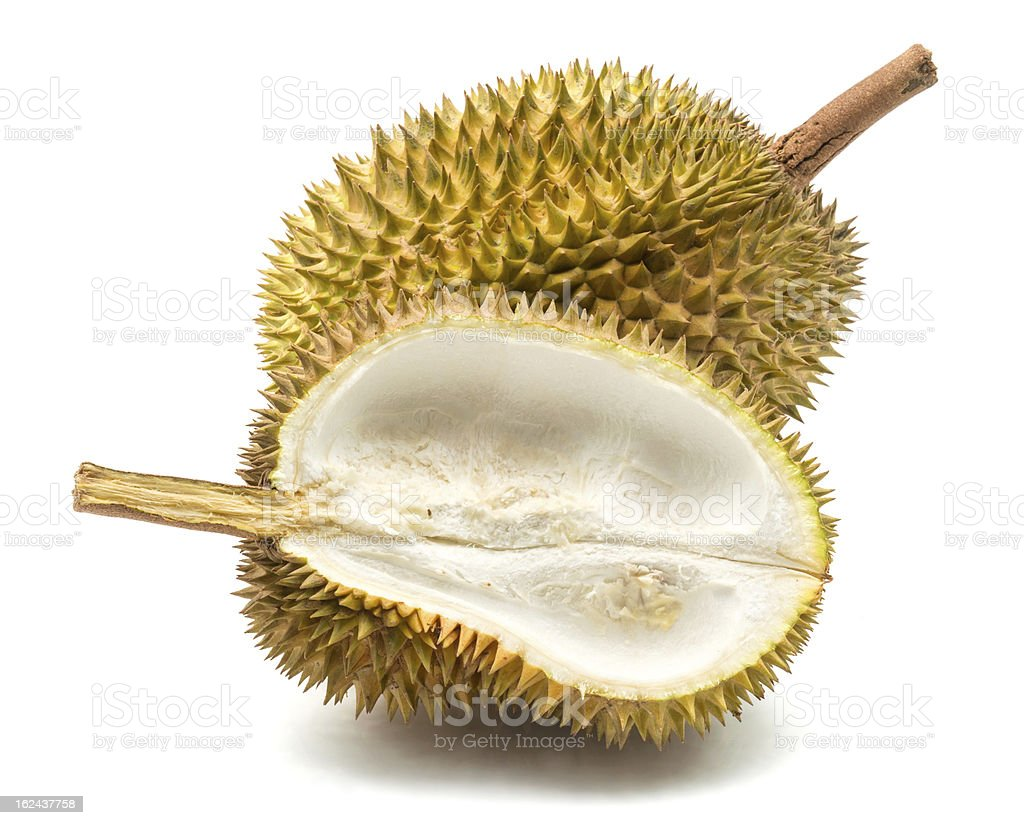 Close up of peeled durian royalty-free stock photo