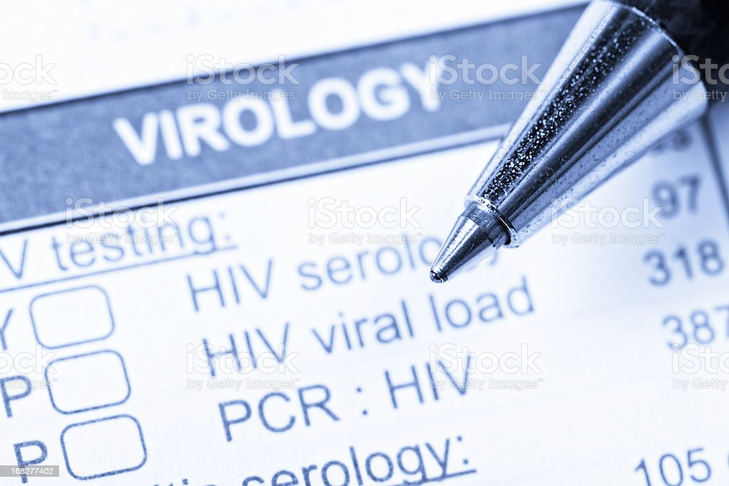 Close up of pen on Virology form  ordering HIV/AIDS tests royalty-free stock photo