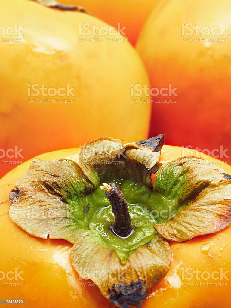 Close-up de persimmons. Foco seletivo foto royalty-free
