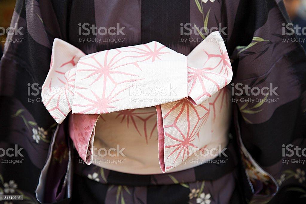 Close up of person wearing kimono royalty-free stock photo