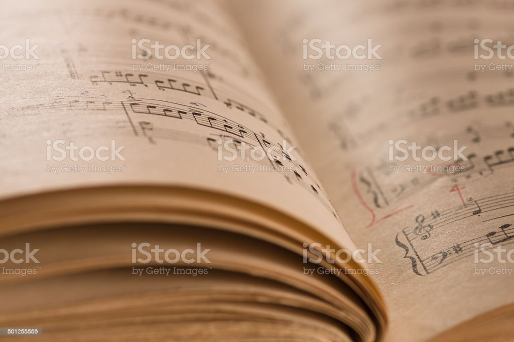 Close up of piano classic music score and notes stock photo