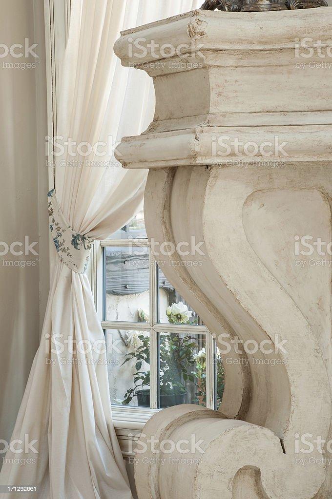 Close up of pillar style fireplace royalty-free stock photo