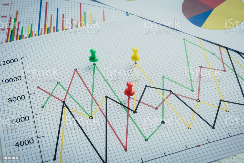 Close up of pin on graph data stock photo