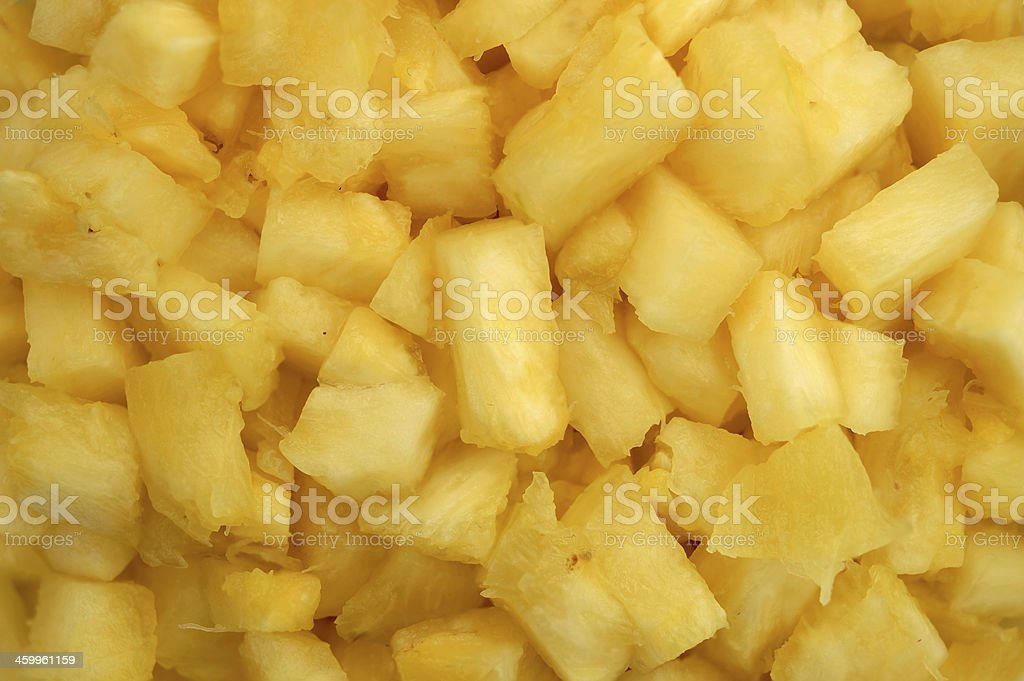 Close up of pineapple chunks stock photo