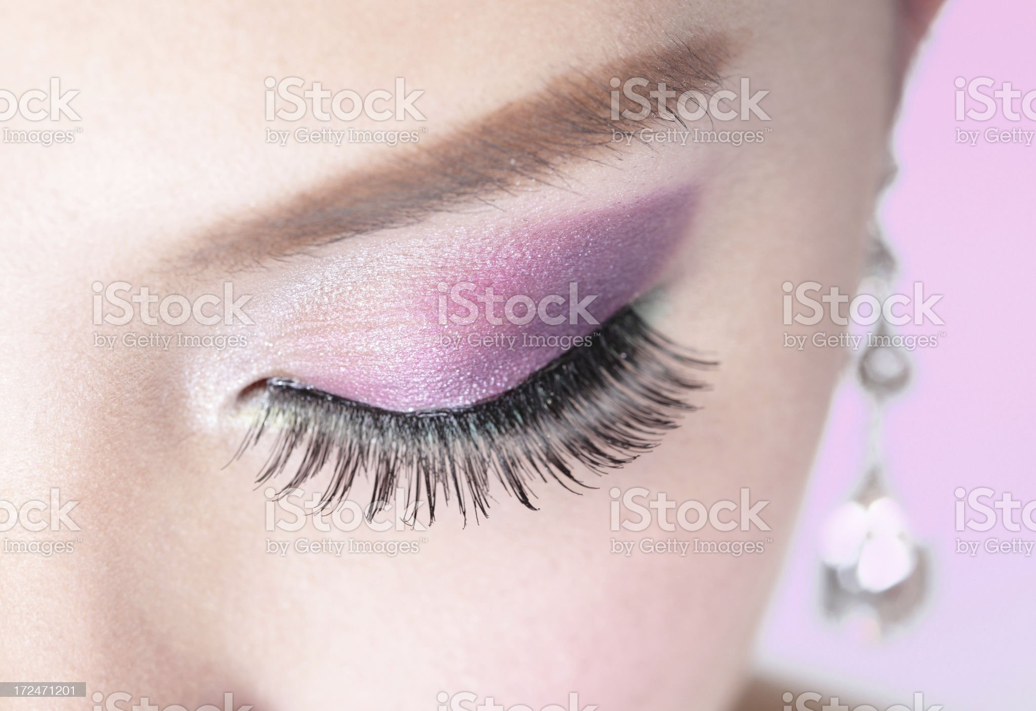 Close up of pink and purple eyeshadow royalty-free stock photo