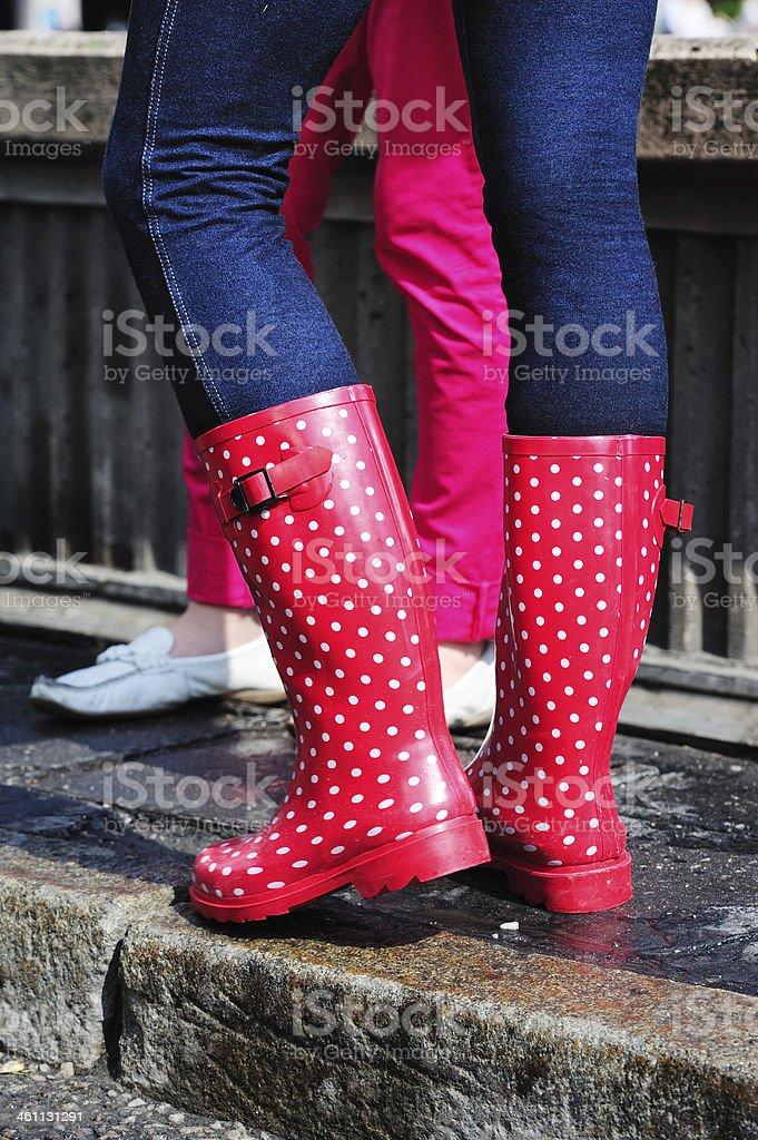 Close up of pink rain boots royalty-free stock photo