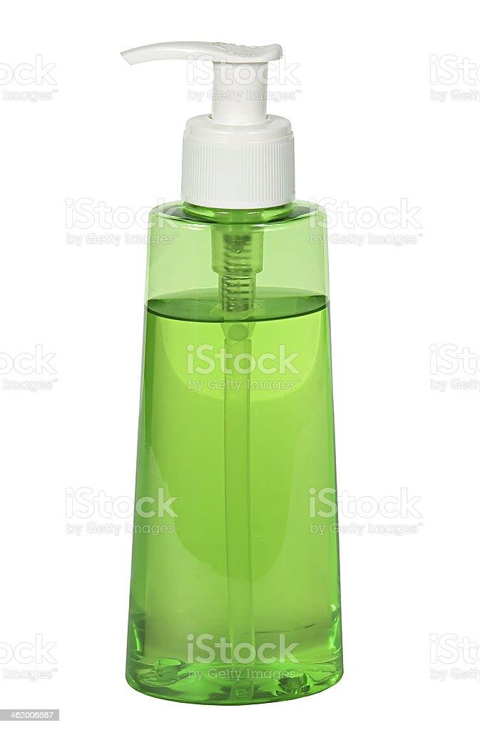 close up of  plastic soap bottle on white background stock photo