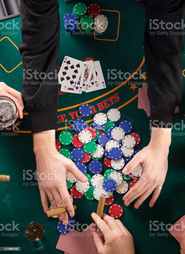 Close up of Poker Player's Hands royalty-free stock photo