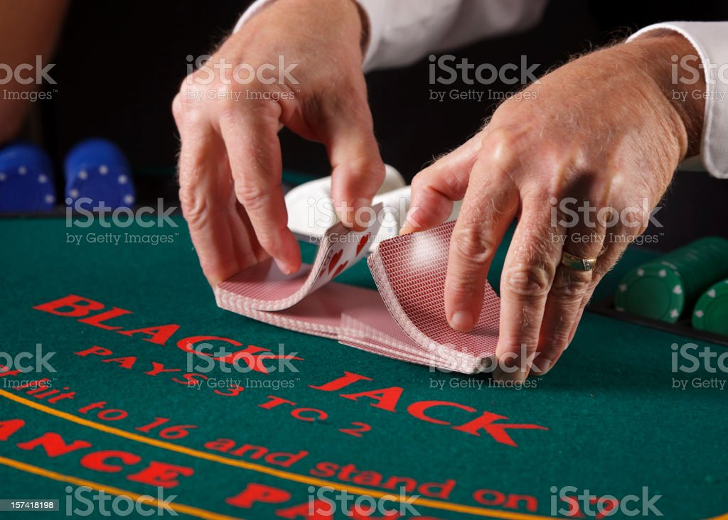 Close up of Poker Player's Hands stock photo