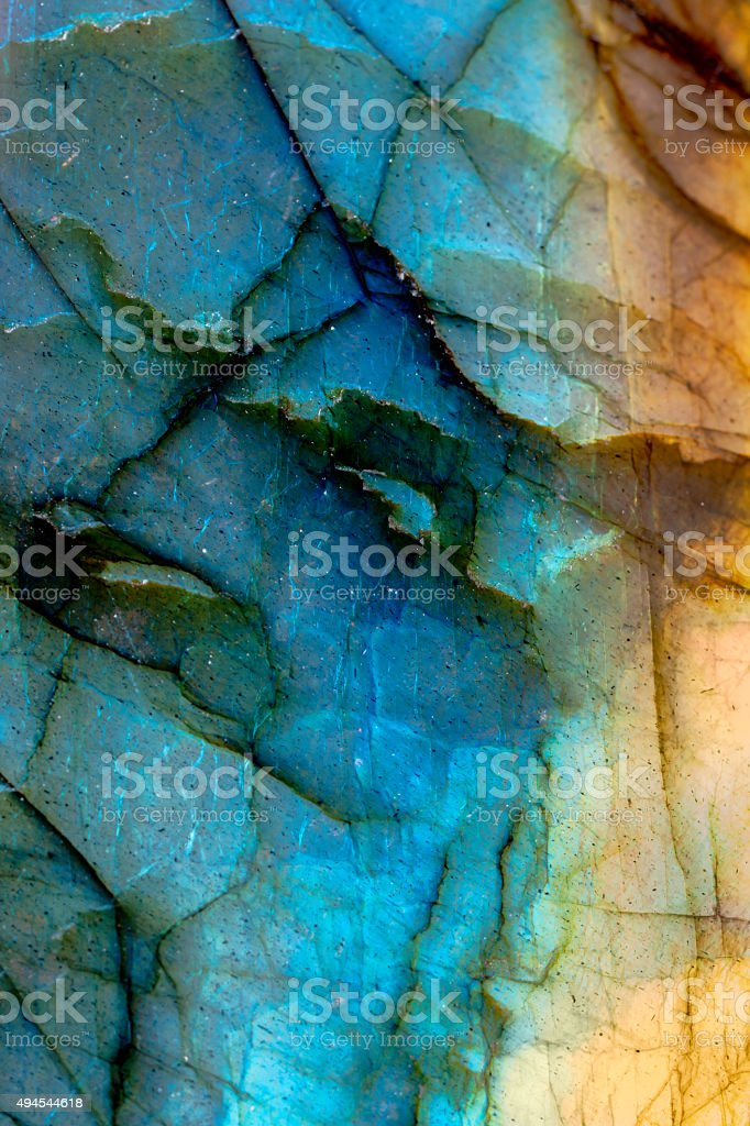 CLose up of polished labradorite rock section stock photo