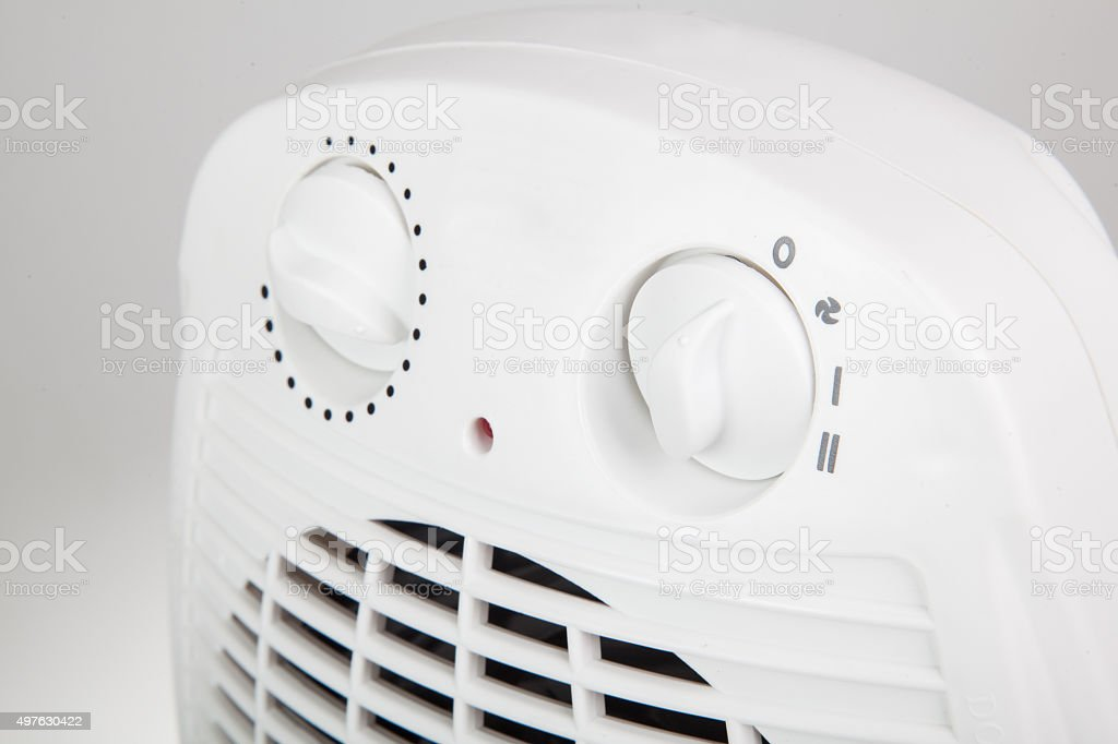 close up of portable electric heater stock photo