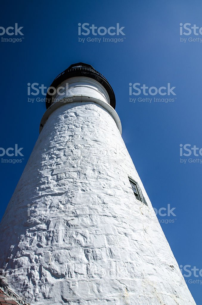 Close up of Portland Head Light summer day stock photo