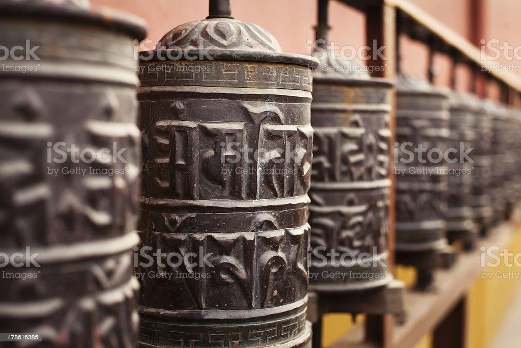 close up of prayer mills stock photo