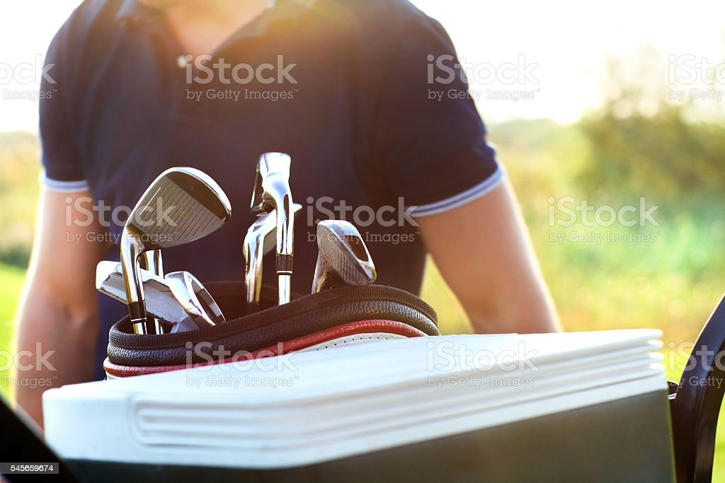 Close up of professional golf gear on the course stock photo