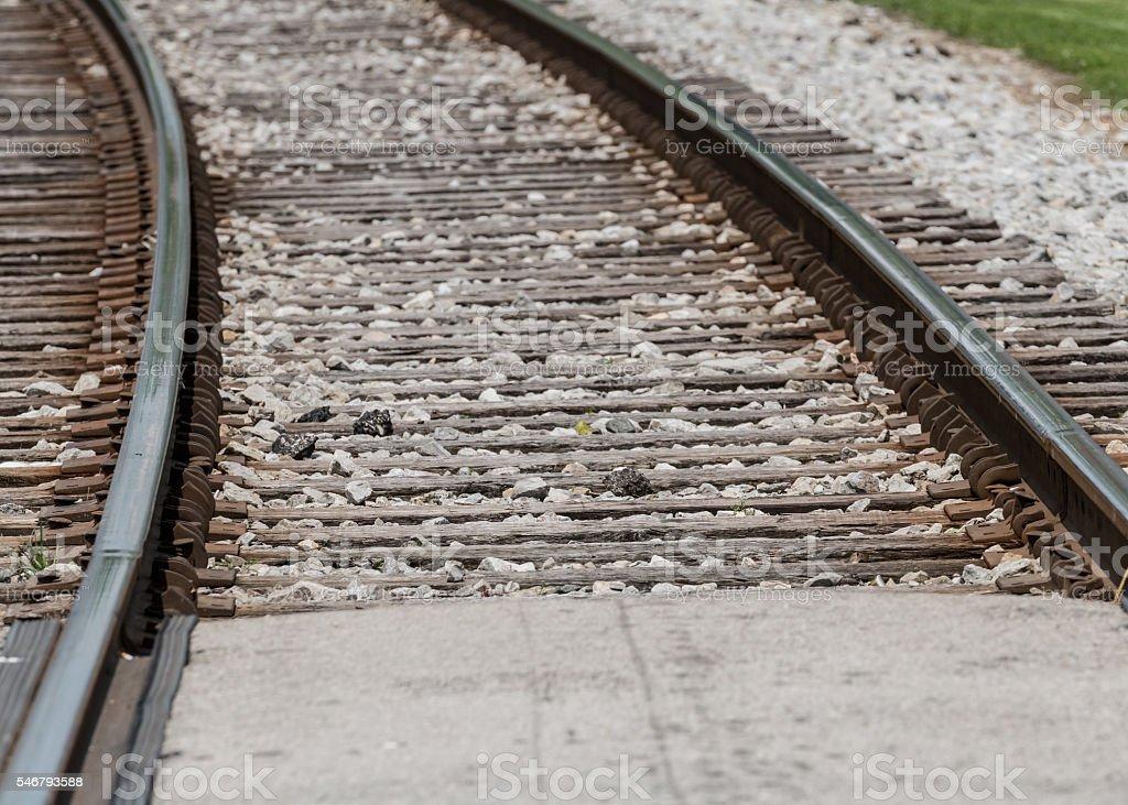 Close Up of Railroad Ties stock photo