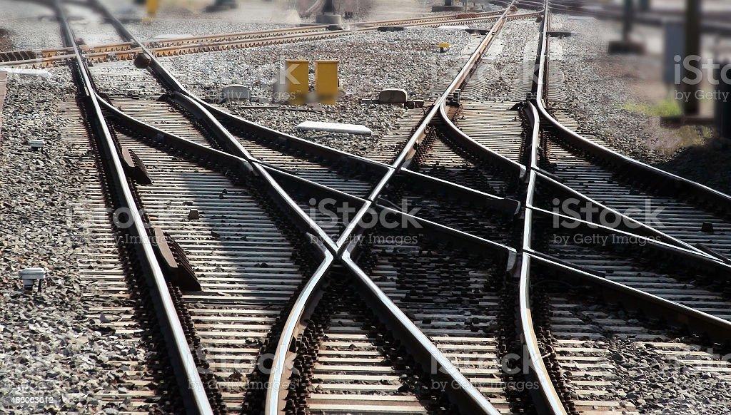 Close Up Of Railroad Track stock photo