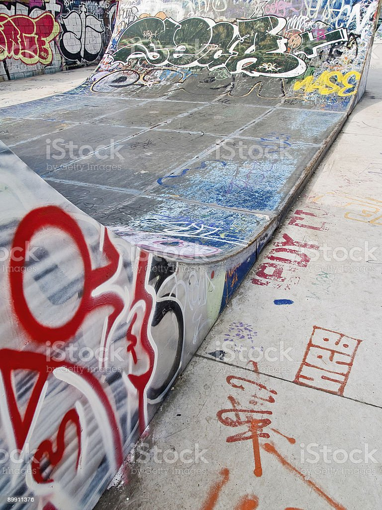 Close up of ramp at a skate park royalty-free stock photo