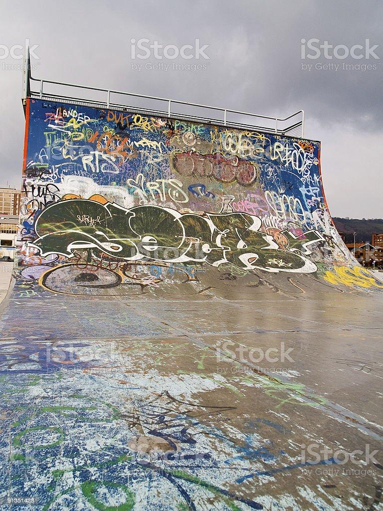 Close up of ramp at a skate park stock photo