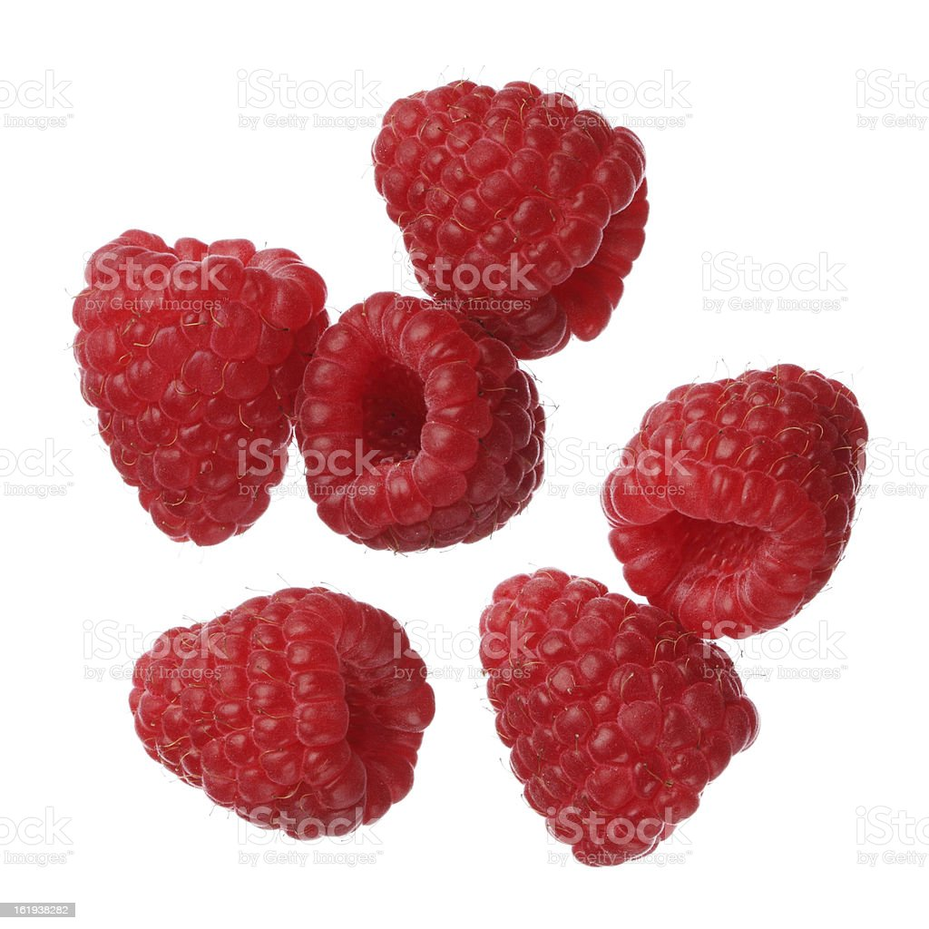 Close up of raspberries isolated on white stock photo