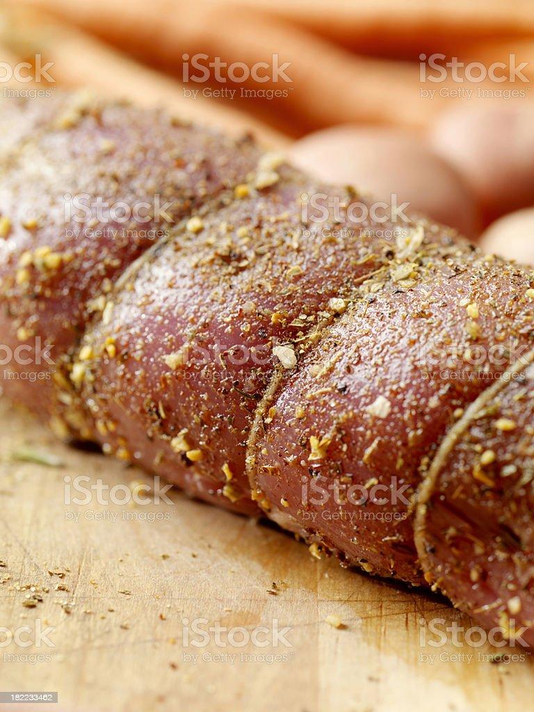 Close up of Raw Pork Tenderloin Roast royalty-free stock photo