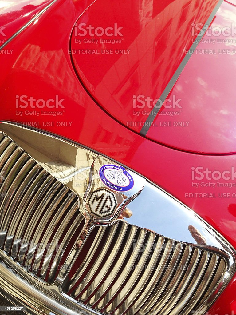 Close Up of Red MG Sports Car royalty-free stock photo