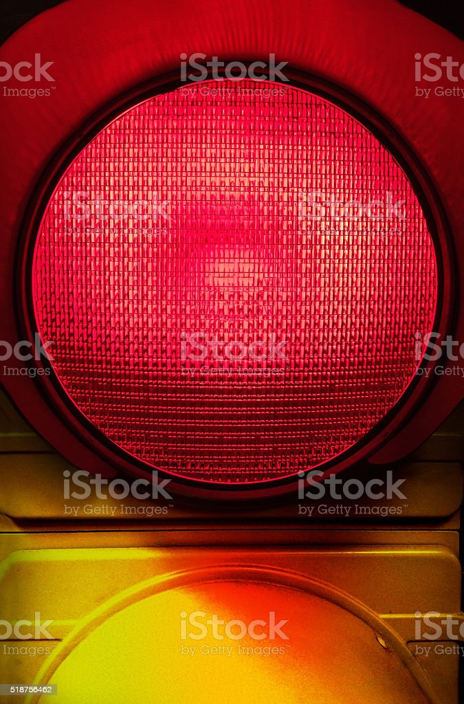 Close up of red traffic light stock photo