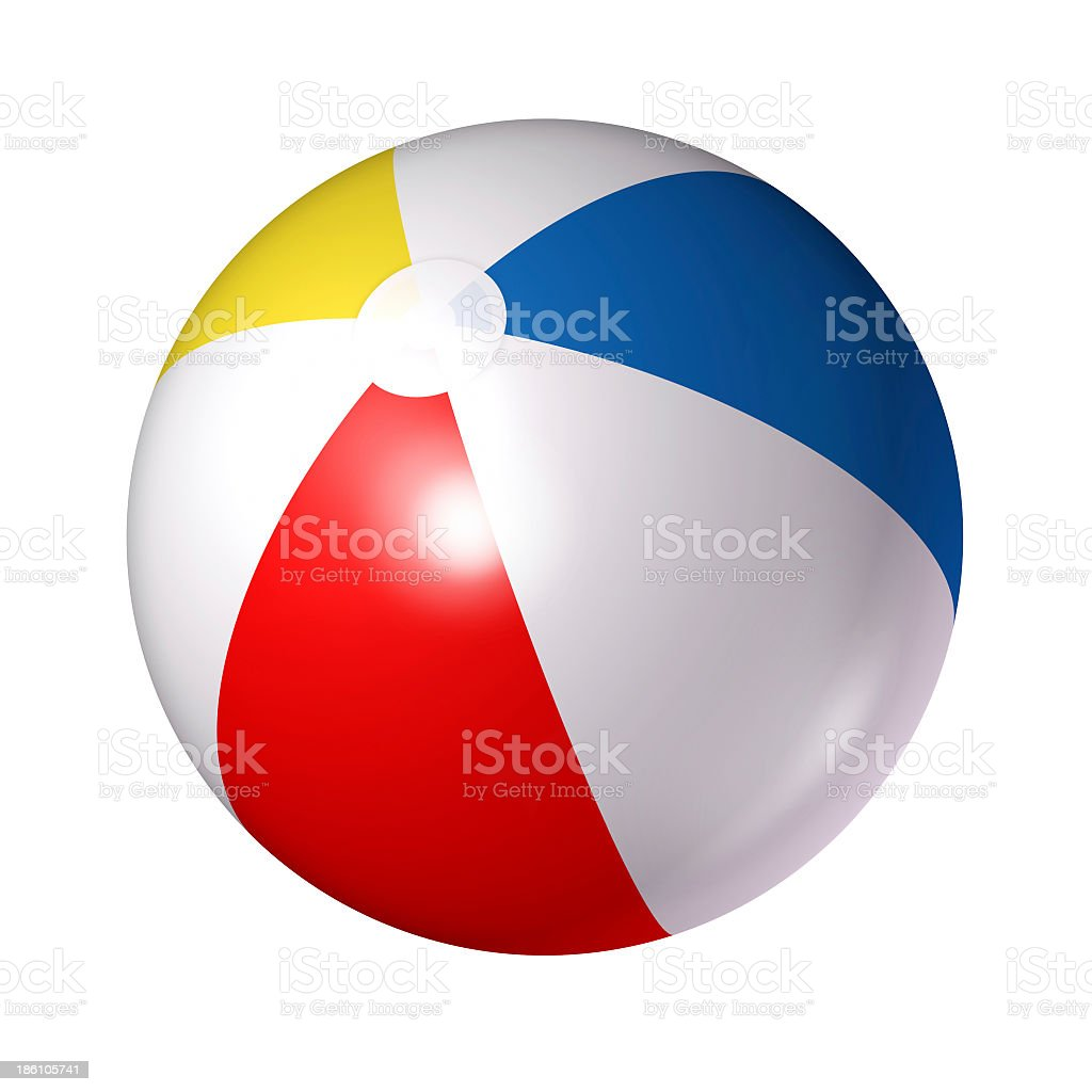 Close up of red white blue and yellow beach ball stock photo