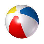Close up of red white blue and yellow beach ball