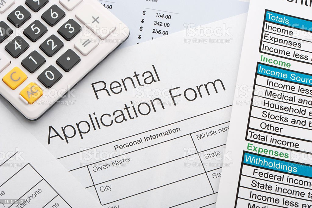 Close up of rental application stock photo