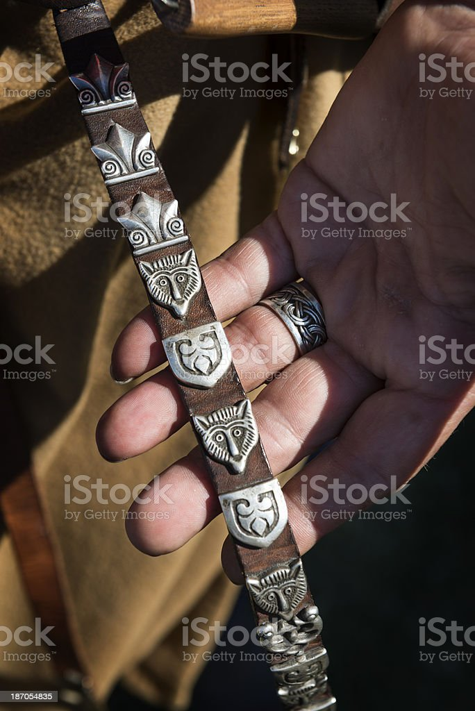 Close Up of Replica Viking Decorative Objects royalty-free stock photo