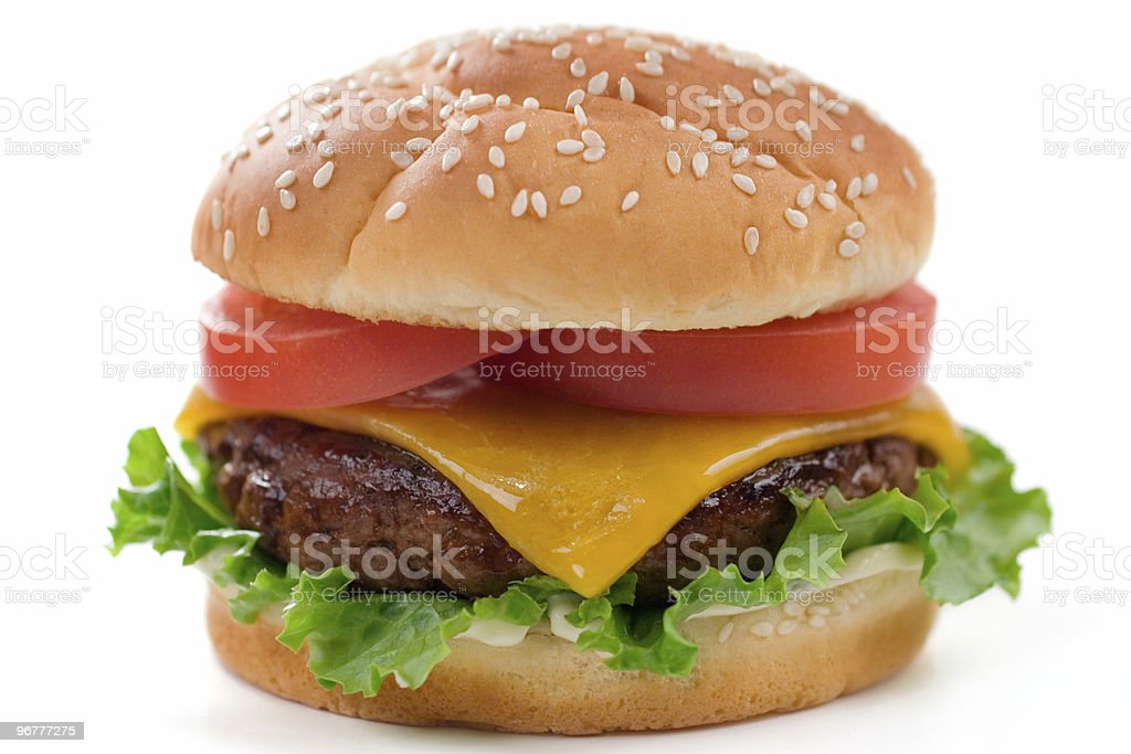 Close up of restaurant style cheeseburger royalty-free stock photo