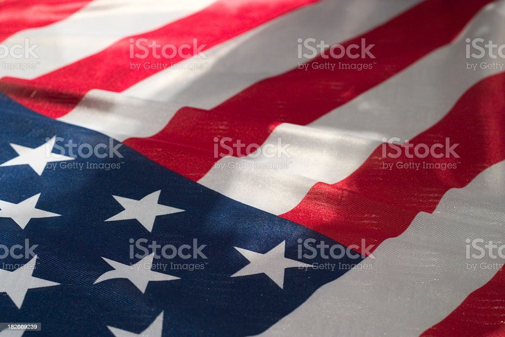 Close up of rippling American flag royalty-free stock photo