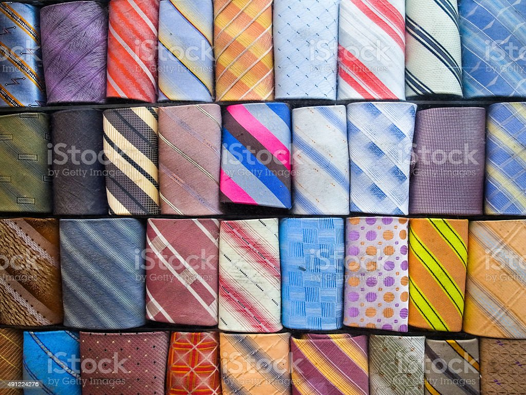 Close up of rolled up neckties. stock photo