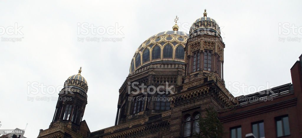 Close Up Of Roof Of Synagogue In Central Berlin Germany stock photo