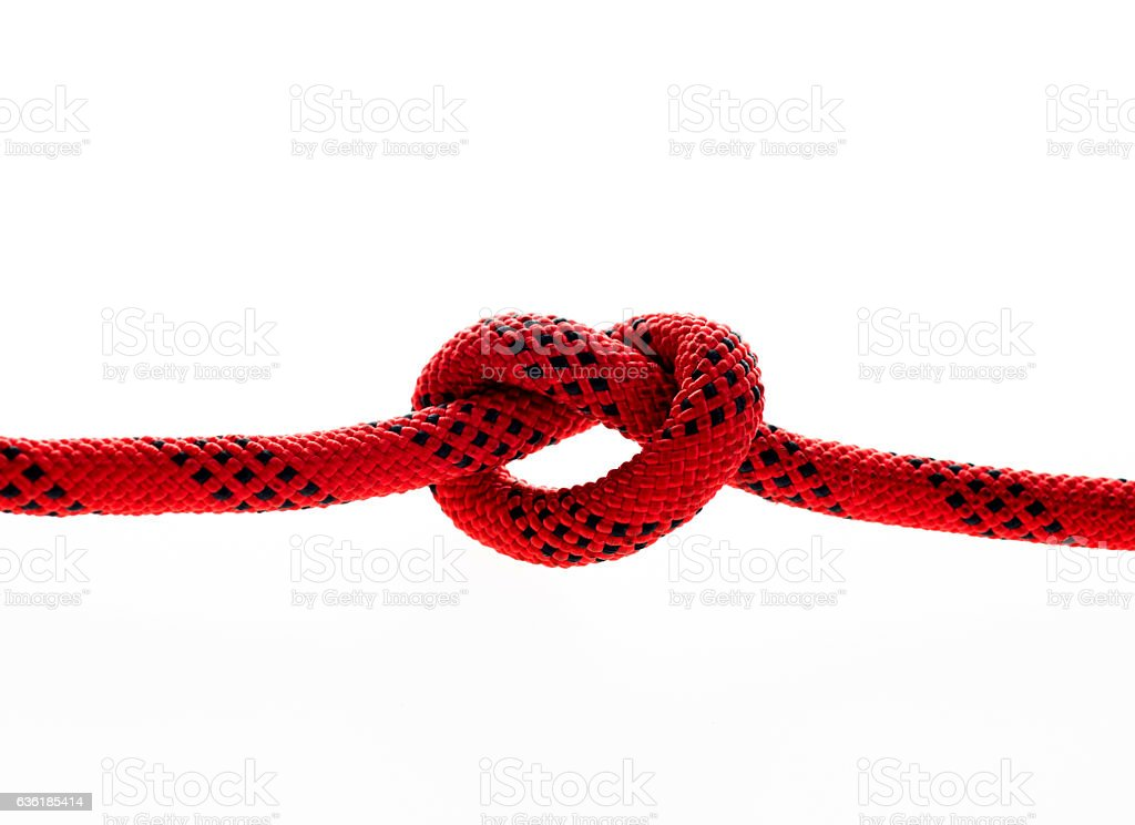 Close up of rope with a knot stock photo