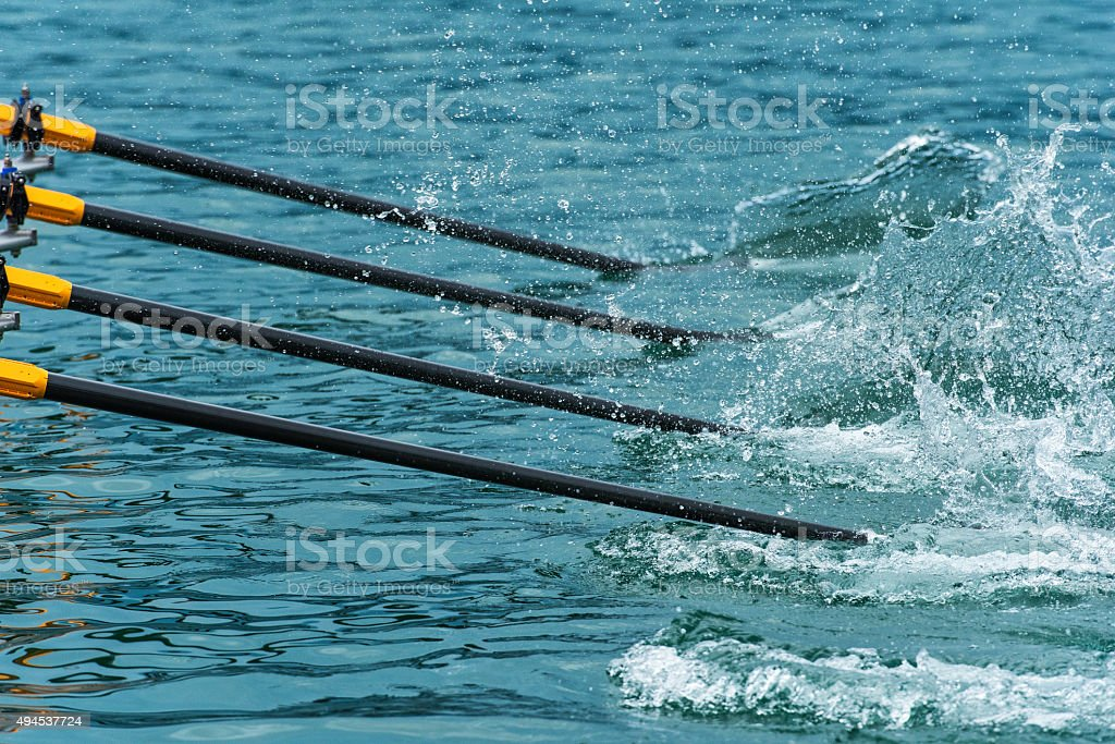 Close up of rowing oars stock photo