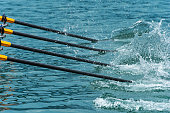 Close up of rowing oars