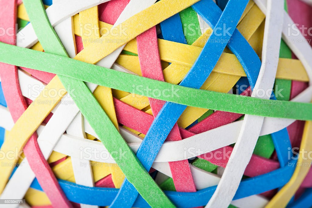 Close Up Of Rubber Band Ball stock photo
