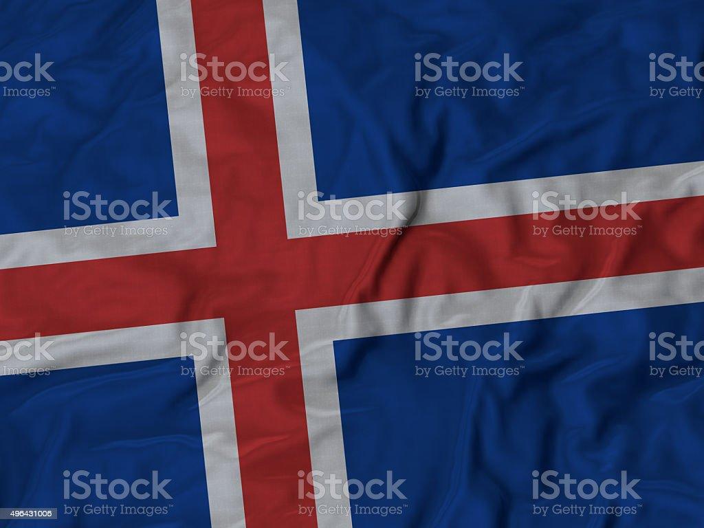 Close up of Ruffled Iceland flag stock photo